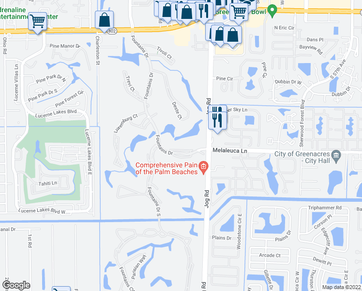 map of restaurants, bars, coffee shops, grocery stores, and more near 4811 Esedra Court in Lake Worth
