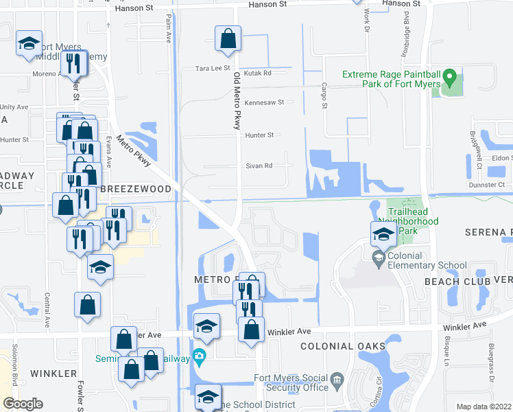 map of restaurants, bars, coffee shops, grocery stores, and more near 3644 Pine Oak Circle in Fort Myers