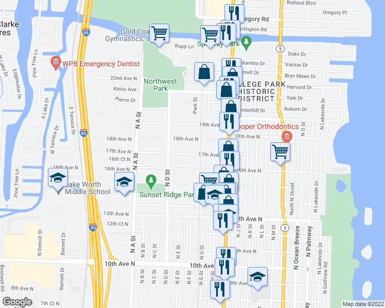 map of restaurants, bars, coffee shops, grocery stores, and more near 1211 17th Ave N in Lake Worth