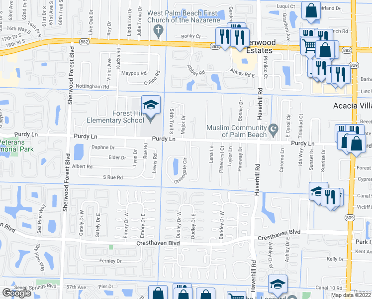 map of restaurants, bars, coffee shops, grocery stores, and more near 2300-2354 Greengate Cir in West Palm Beach
