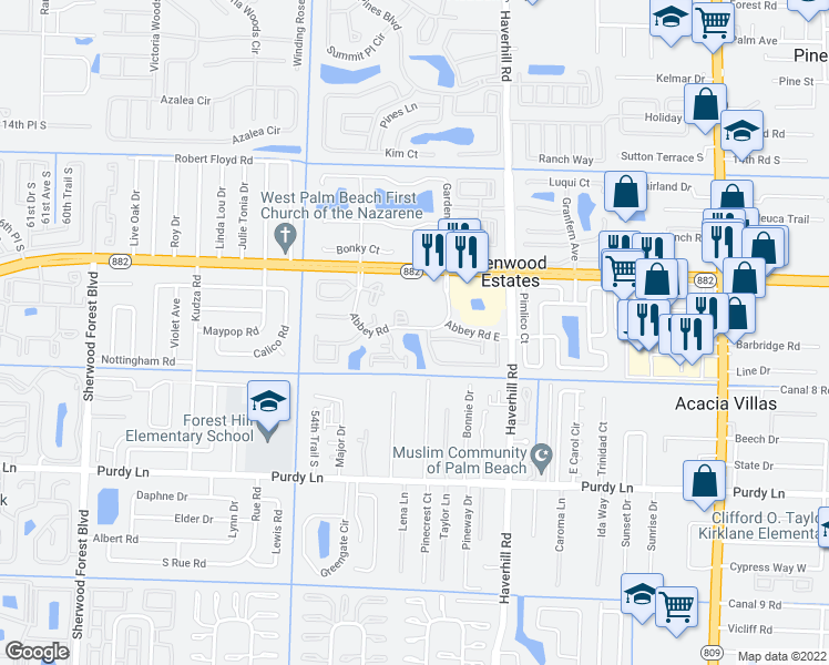 map of restaurants, bars, coffee shops, grocery stores, and more near 1870 Abbey Road in West Palm Beach