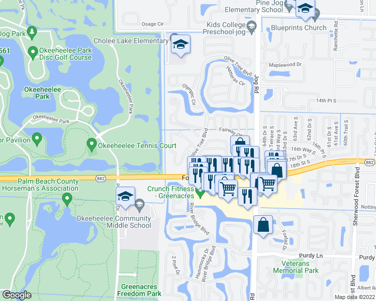 map of restaurants, bars, coffee shops, grocery stores, and more near 50 Olive Tree Circle in Greenacres