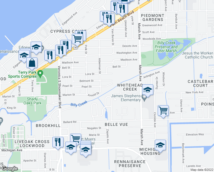 map of restaurants, bars, coffee shops, grocery stores, and more near 3900-3968 Pearl Street in Fort Mye