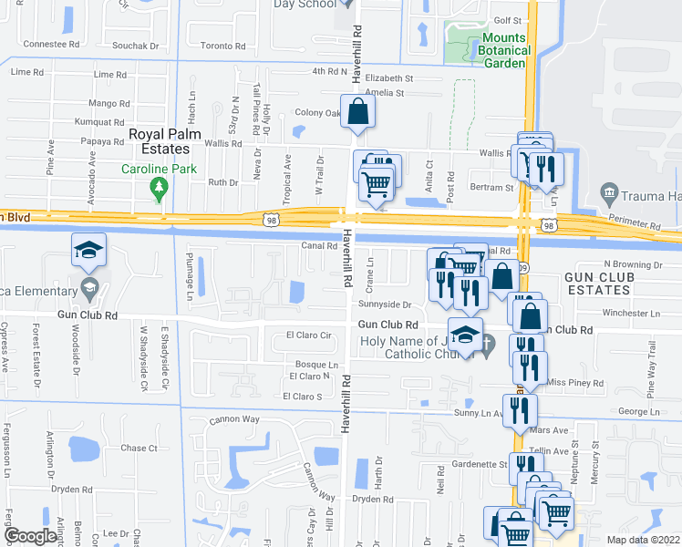 map of restaurants, bars, coffee shops, grocery stores, and more near 5033-5099 Ben Eden Ln in West Palm Beach