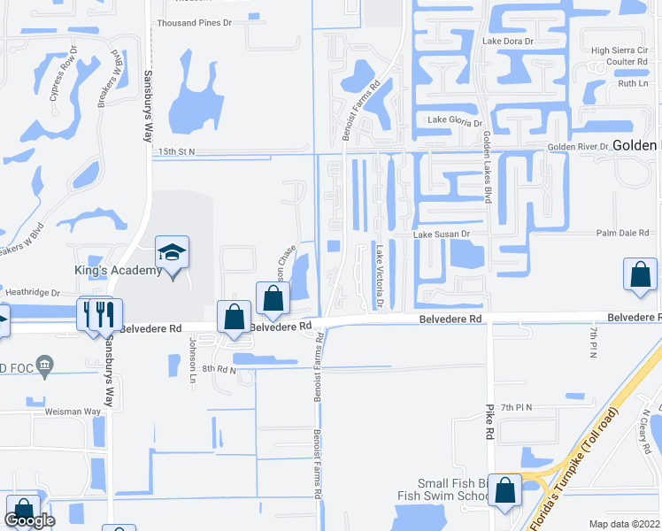 map of restaurants, bars, coffee shops, grocery stores, and more near 901-1089 Benoist Farms Road in West Palm Beach