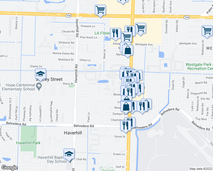 map of restaurants, bars, coffee shops, grocery stores, and more near 4742 Cherry Rd in West Palm Beach