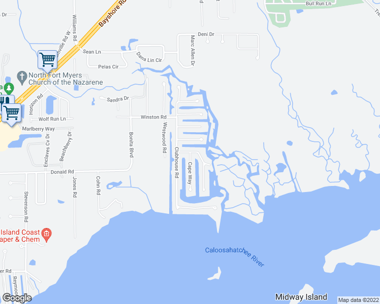 map of restaurants, bars, coffee shops, grocery stores, and more near Coral Way & Cape Way in North Fort Myers