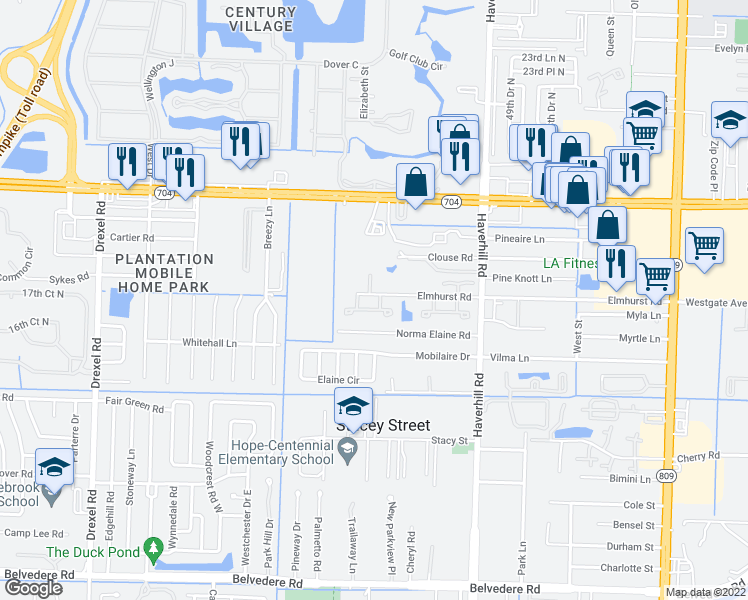 map of restaurants, bars, coffee shops, grocery stores, and more near 5070 Sanctuary Way in West Palm Beach