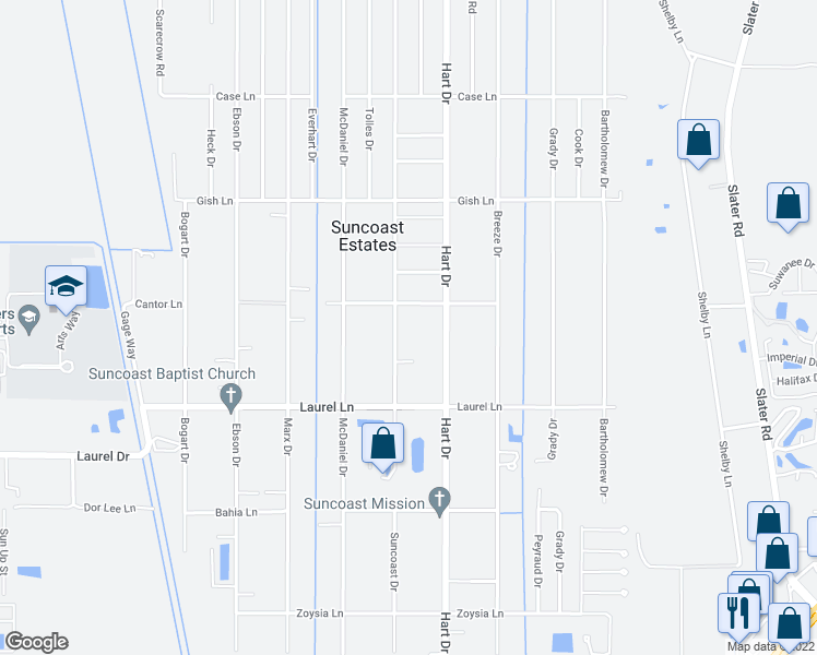 map of restaurants, bars, coffee shops, grocery stores, and more near 7891 Suncoast Dr in North Fort Myers