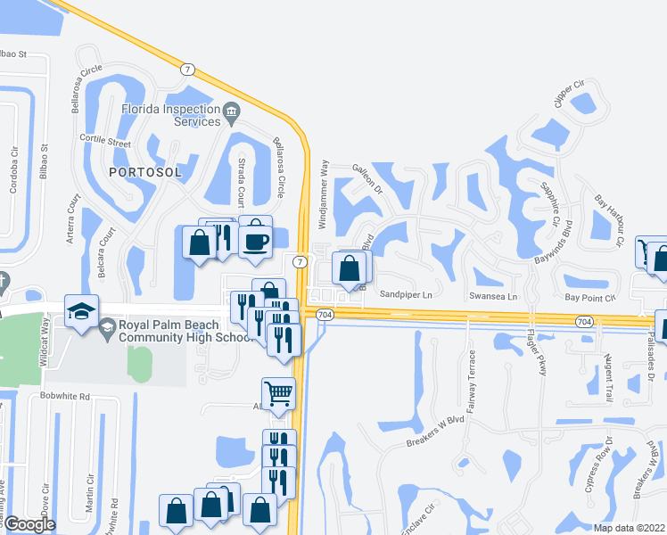 map of restaurants, bars, coffee shops, grocery stores, and more near 9873 Baywinds Drive in Royal Palm Beach