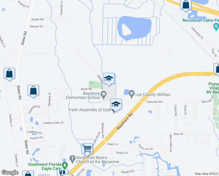 map of restaurants, bars, coffee shops, grocery stores, and more near 17050 Williams Road in North Fort Myers