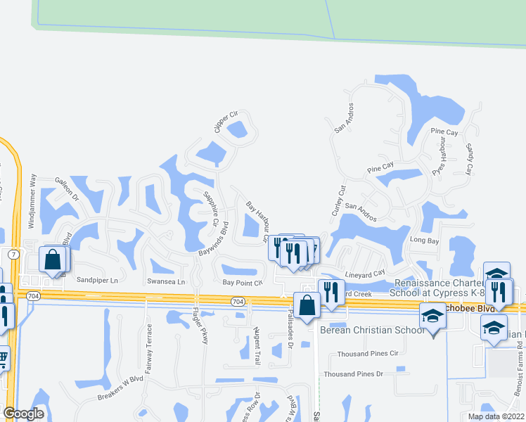 map of restaurants, bars, coffee shops, grocery stores, and more near 9124 Bay Harbour Cir in West Palm Beach