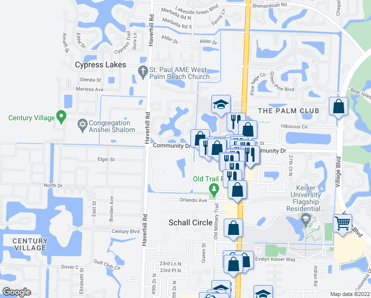 map of restaurants, bars, coffee shops, grocery stores, and more near 2688 Tennis Club Drive in West Palm Beach