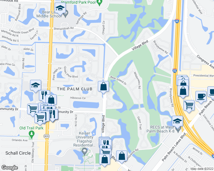 map of restaurants, bars, coffee shops, grocery stores, and more near 2060-2104 Village Boulevard in West Palm Beach