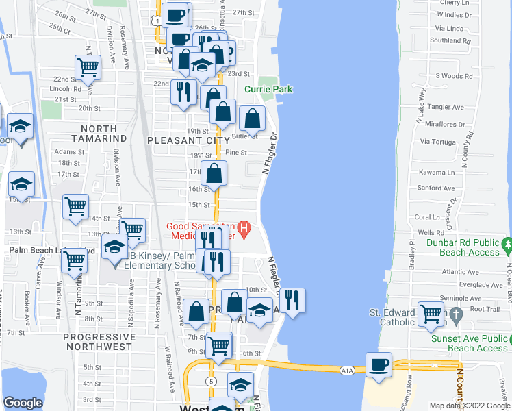map of restaurants, bars, coffee shops, grocery stores, and more near 1520-1598 North Flagler Drive in West Palm Beach
