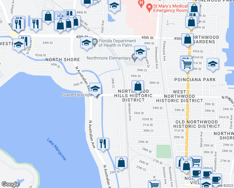 map of restaurants, bars, coffee shops, grocery stores, and more near 3901 36th Court in West Palm Beach