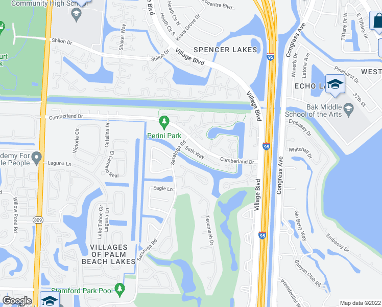 map of restaurants, bars, coffee shops, grocery stores, and more near 5616 56th Way in West Palm Beach
