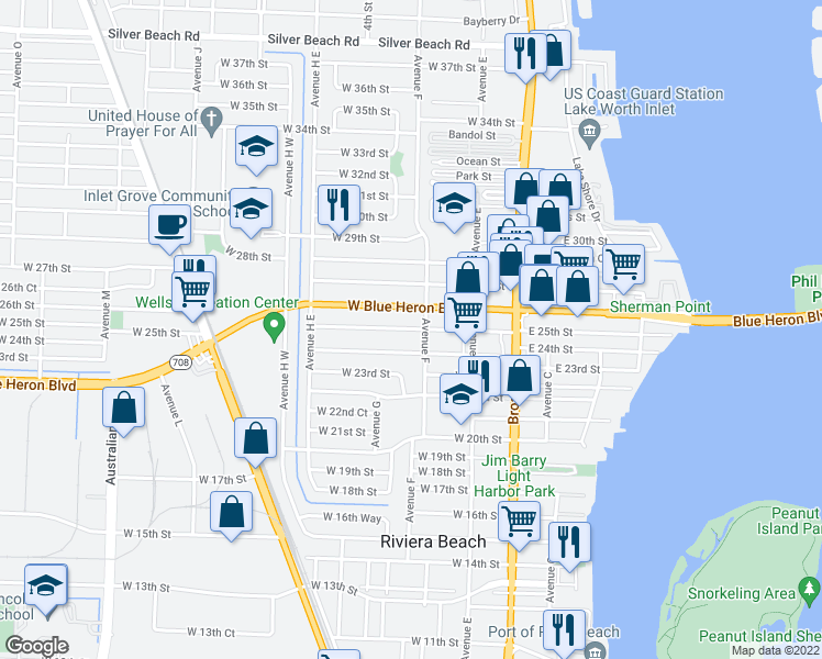 map of restaurants, bars, coffee shops, grocery stores, and more near 247 West 25th Street in West Palm Beach