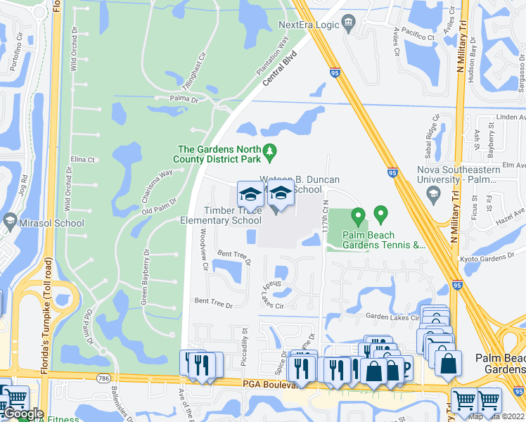 map of restaurants, bars, coffee shops, grocery stores, and more near 5150 117th Court North in Palm Beach Gardens