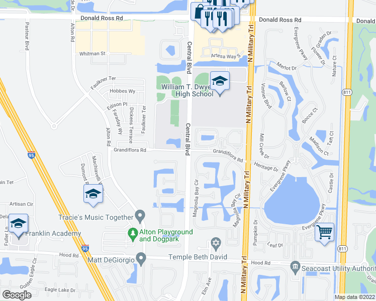 map of restaurants, bars, coffee shops, grocery stores, and more near Central Blvd & Grandiflora Rd in Palm Be