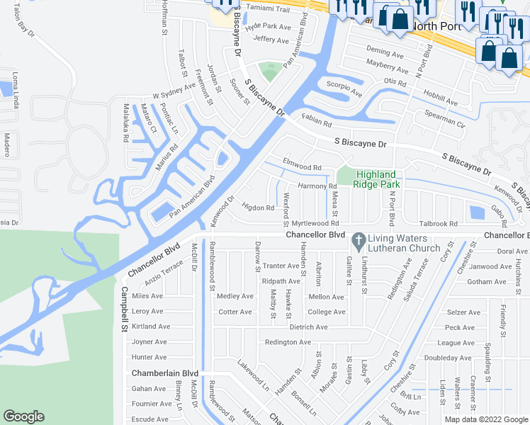 map of restaurants, bars, coffee shops, grocery stores, and more near 6763 Higdon Rd in North Port