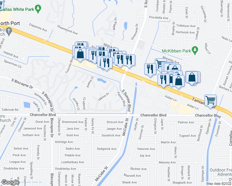 map of restaurants, bars, coffee shops, grocery stores, and more near 6517 Honu Ct in North Port