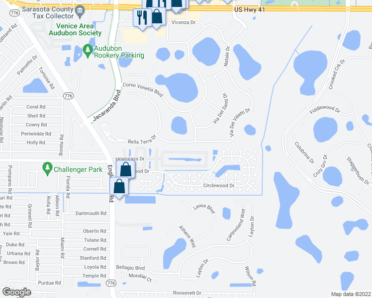map of restaurants, bars, coffee shops, grocery stores, and more near 147 Hourglass Dr in Venice
