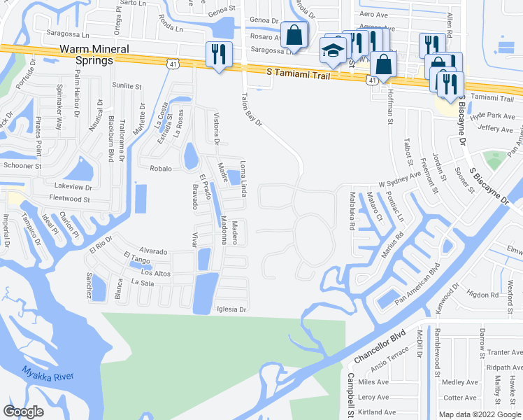 map of restaurants, bars, coffee shops, grocery stores, and more near 9526 Hawk Nest Lane in North Port