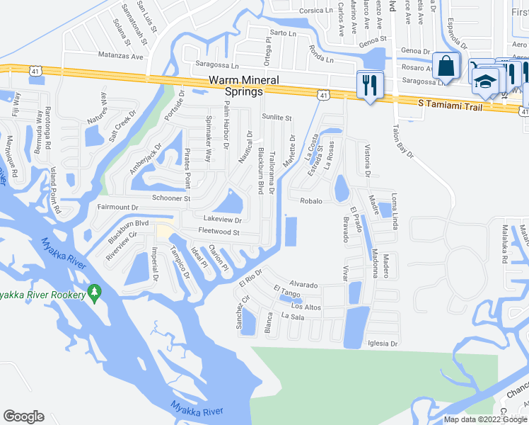 map of restaurants, bars, coffee shops, grocery stores, and more near 349 Blackburn Boulevard in North Port