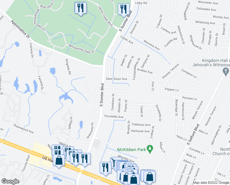 map of restaurants, bars, coffee shops, grocery stores, and more near 4676 Cumbano Street in North Port