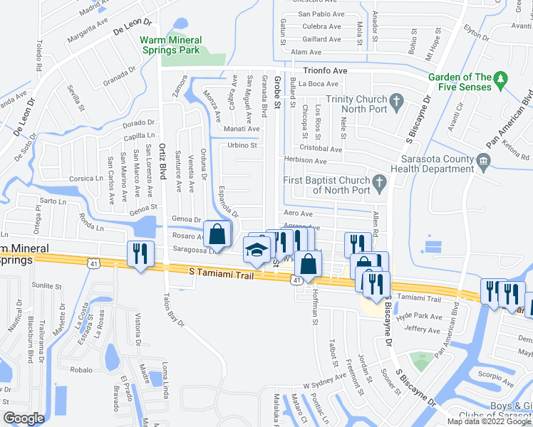 map of restaurants, bars, coffee shops, grocery stores, and more near 213 Granada Boulevard in North Port