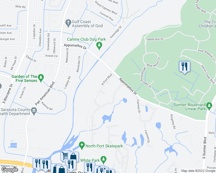 map of restaurants, bars, coffee shops, grocery stores, and more near 5951 Ibis Ct in North Port