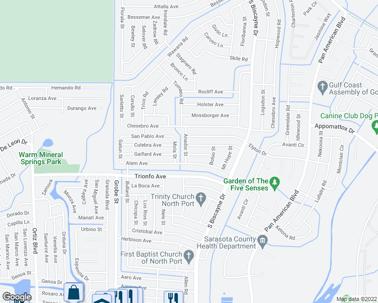 map of restaurants, bars, coffee shops, grocery stores, and more near 8292 Gallo Avenue in North Port