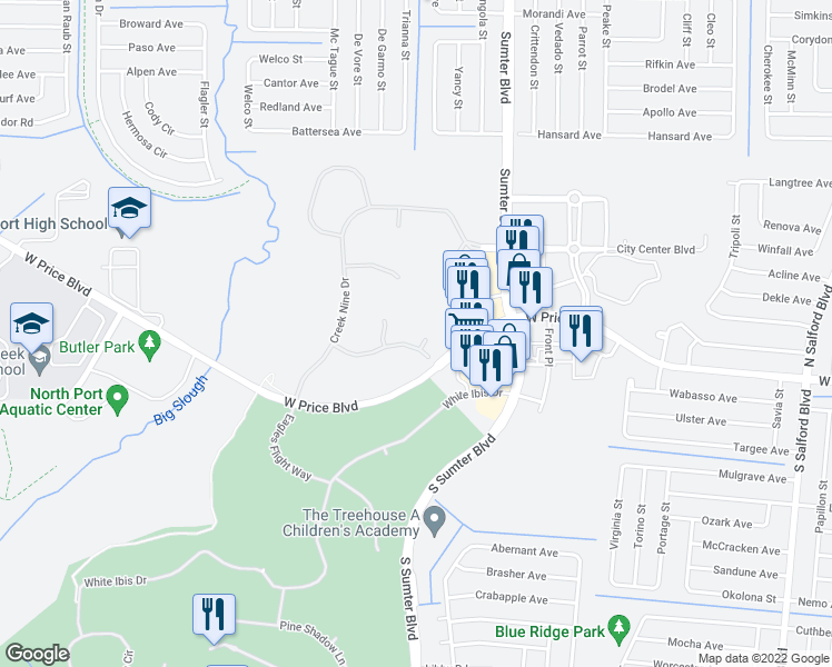 map of restaurants, bars, coffee shops, grocery stores, and more near 1201 Sunrise Vista Cir in North Port