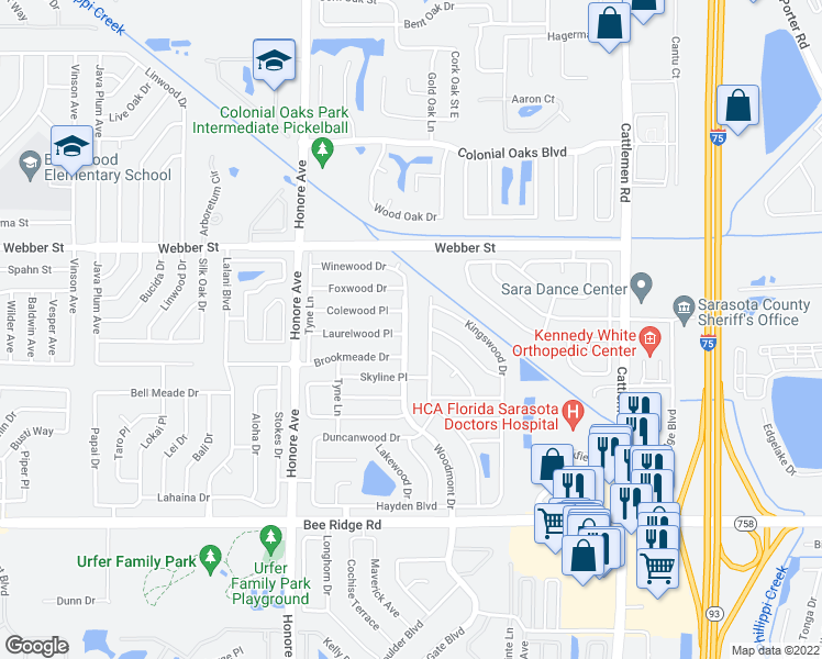 map of restaurants, bars, coffee shops, grocery stores, and more near 3301 Woodmont Dr