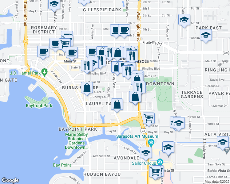 map of restaurants, bars, coffee shops, grocery stores, and more near S Osprey Ave & Laurel St in Sarasota