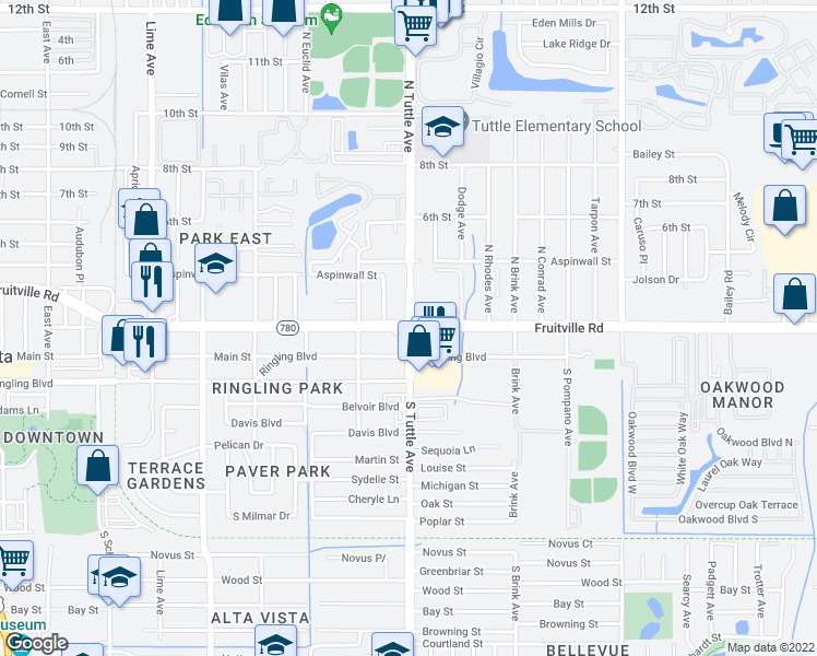 map of restaurants, bars, coffee shops, grocery stores, and more near Fruitville Rd & N Tuttle Ave in Sarasota
