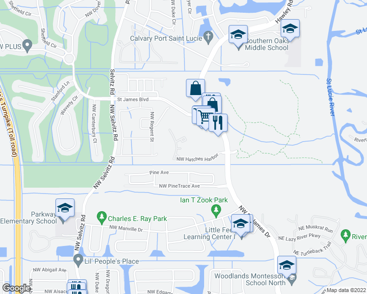 map of restaurants, bars, coffee shops, grocery stores, and more near 2550 NW Hatches Harbor Rd in Port St Lucie