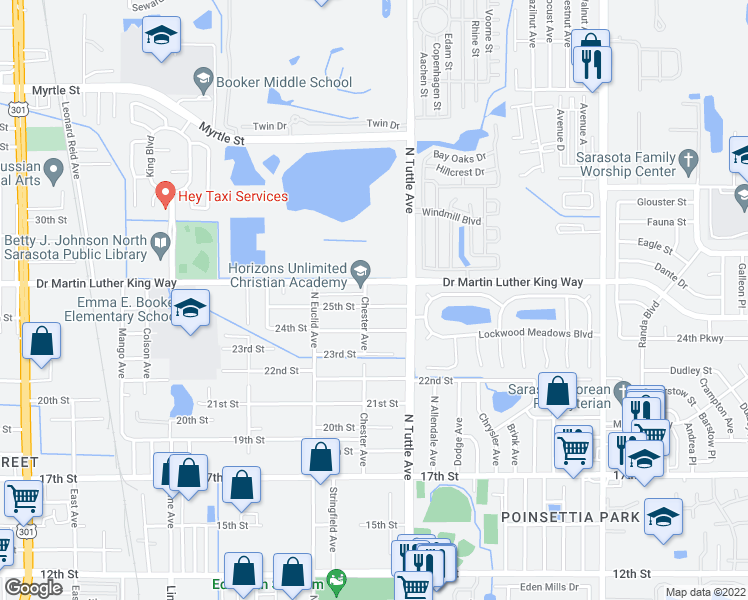 map of restaurants, bars, coffee shops, grocery stores, and more near 2728 25th Street in Sarasota