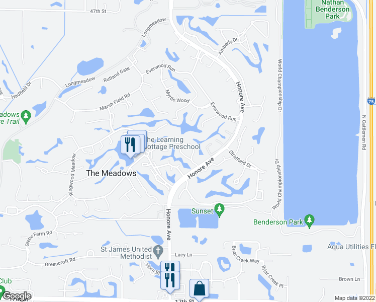 map of restaurants, bars, coffee shops, grocery stores, and more near 3105 Sandleheath in Sarasota
