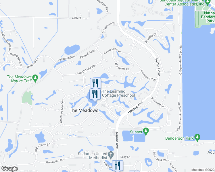 map of restaurants, bars, coffee shops, grocery stores, and more near 5100-5298 Willow Links in Sarasota