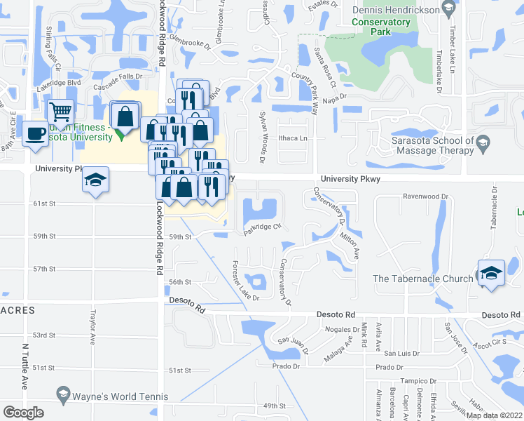 map of restaurants, bars, coffee shops, grocery stores, and more near 3420 Parkridge Circle in Sarasota