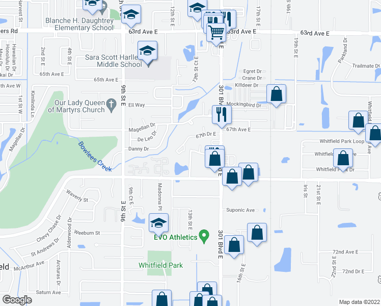 map of restaurants, bars, coffee shops, grocery stores, and more near 1242-1248 Hidden Acres Circle in Sarasota