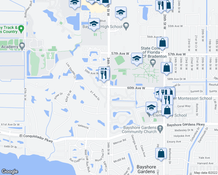 map of restaurants, bars, coffee shops, grocery stores, and more near 34th St W & 60th Ave W in Bayshore Gardens
