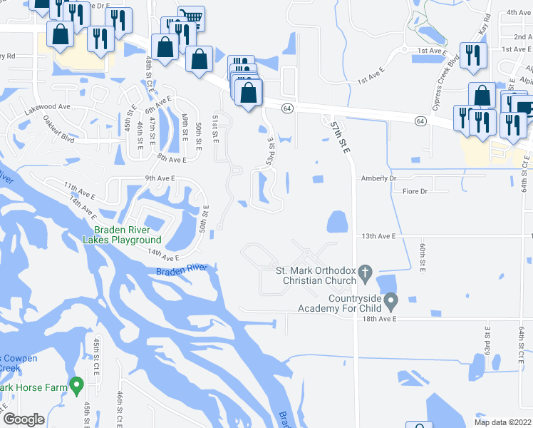 map of restaurants, bars, coffee shops, grocery stores, and more near 500-700 53rd Street East in Bradenton