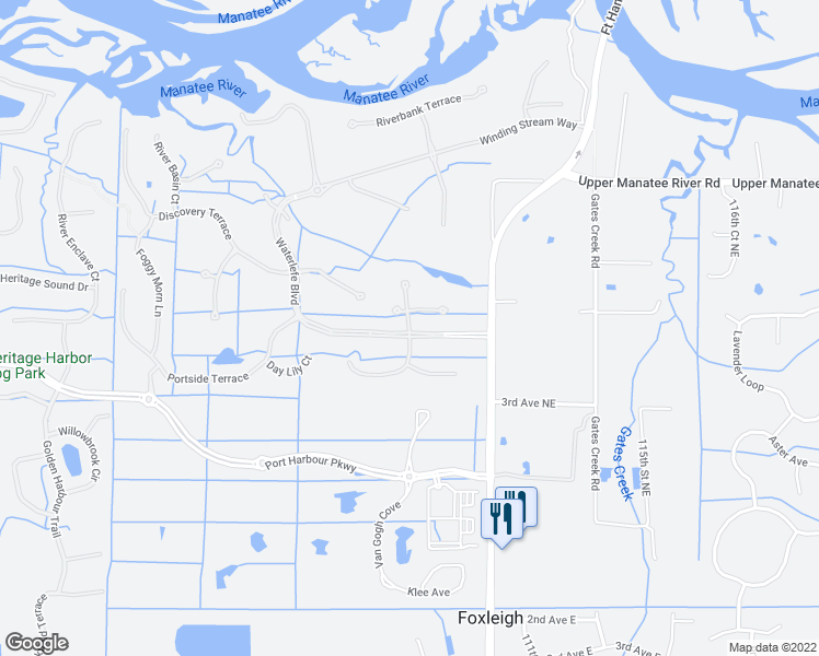 map of restaurants, bars, coffee shops, grocery stores, and more near Sand Crane Ct in Bradenton
