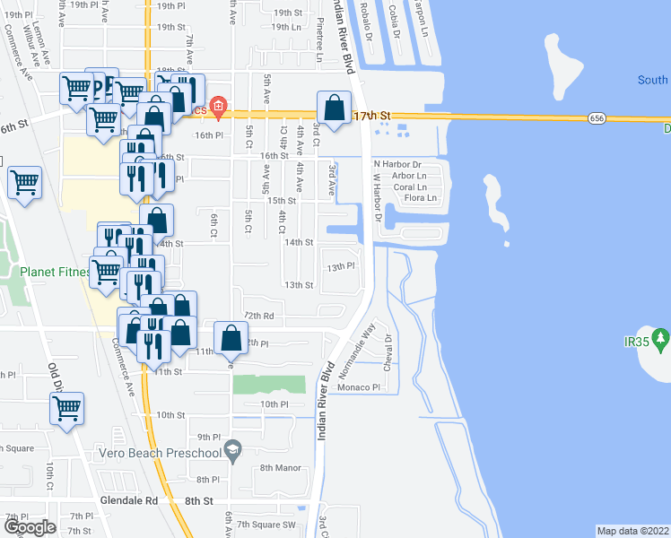 map of restaurants, bars, coffee shops, grocery stores, and more near 1322-1350 3rd Avenue in Vero Beach