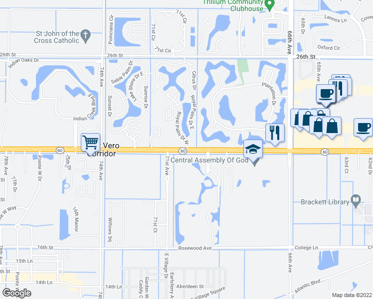 map of restaurants, bars, coffee shops, grocery stores, and more near 6955-6983 20th St in Vero Beach