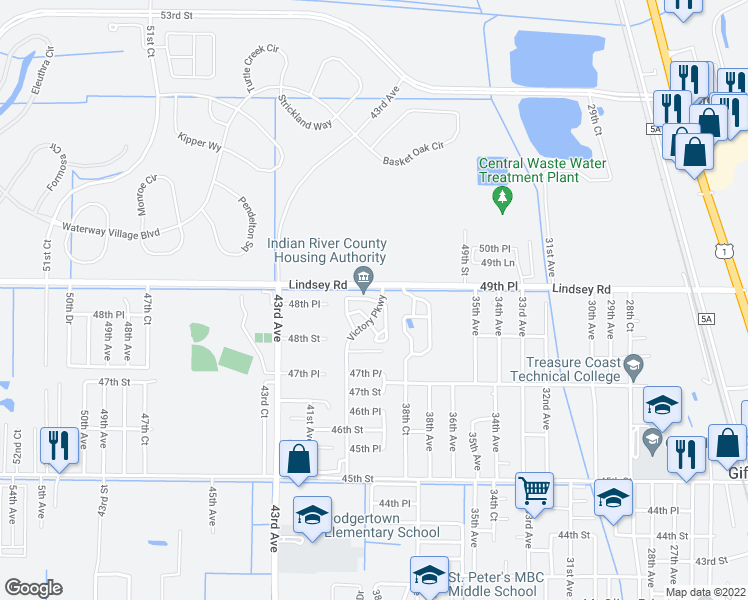 map of restaurants, bars, coffee shops, grocery stores, and more near Lindsey Rd in Vero Beach