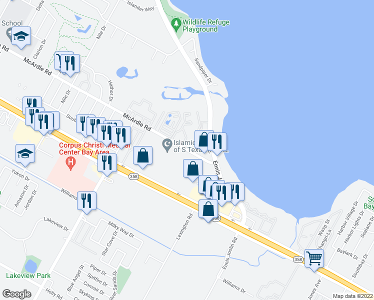 map of restaurants, bars, coffee shops, grocery stores, and more near 7467-7501 McArdle Road in Corpus Christi